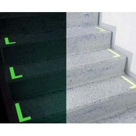 Marqueurs en L pour marches d'escalier phosphorescent