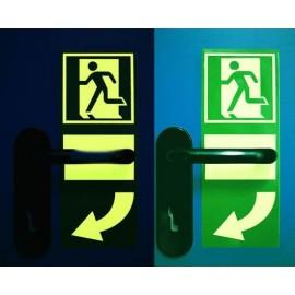 Plaques phosphorescentes pour la signalisation du sens d'ouverture des portes