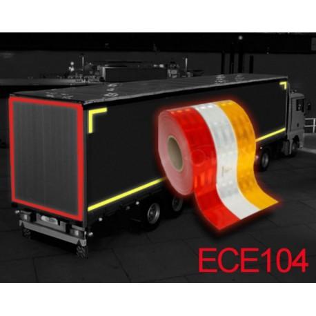 Ruabn Adhésif rétrofléchissant pour camions ECE 104 Classe C - Blanc Jaune Rouge