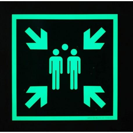 pancarte photoluminescente Point de rassemblement E007