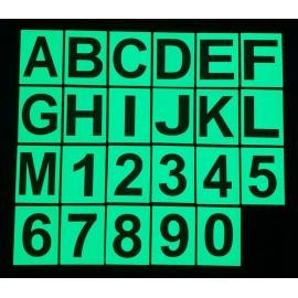 Chiffres et lettres photoluminescents 8x6cm